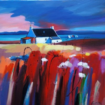 Sunlit Cottage & Red by Pam Carter