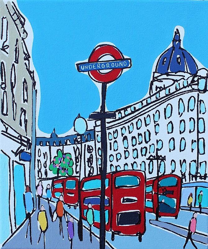 Mini buses  Oxford Street by Rachel Tighe