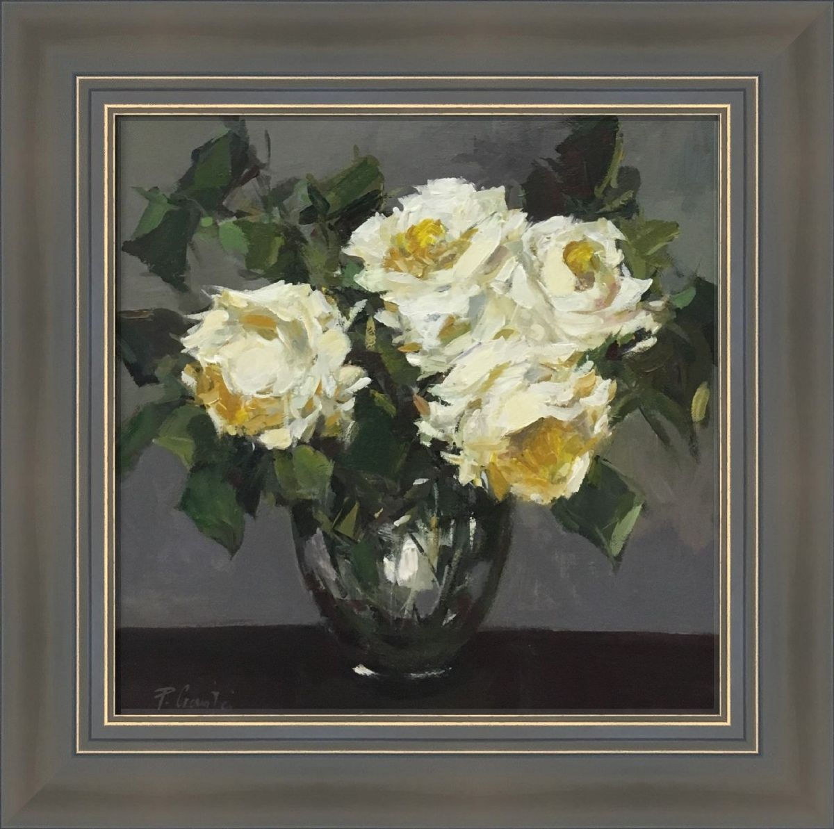 White Roses in a Glass by Parastoo Ganjei