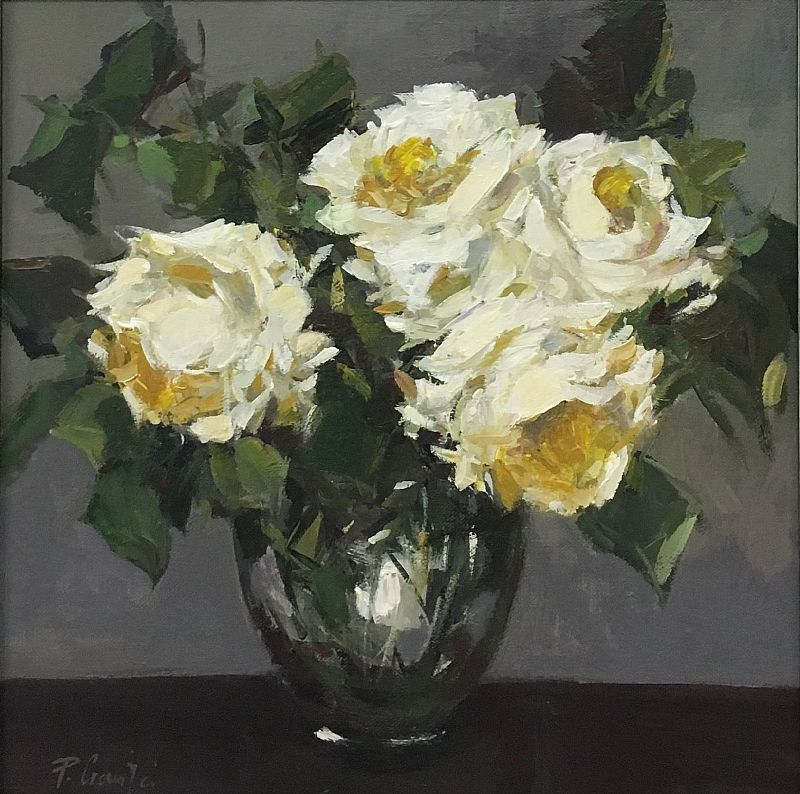 Parastoo Ganjei - White Roses in a Glass