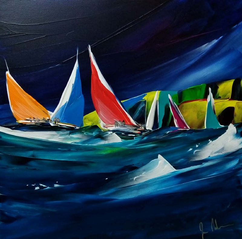 We're offering the chance to buy one of Janet Nelson's distinctive sailing paintings at special lockdown prices.